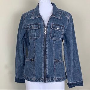 Denim Jean Jacket French Cuff Size M